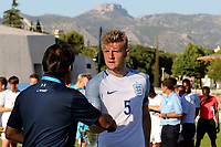 Joe Worrall of England collects his award for being the second best player of the Tournament during England Under-18 vs Ivory Coast Under-20, Toulon Tournament Final Football at Stade de Lattre-de-Tassigny on 10th June 2017