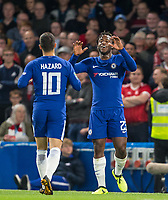 Michy Batshuayi of Chelsea celebrates his goal 2 0 during the Carabao Cup (Football League cup) 23rd round match between Chelsea and Nottingham Forest at Stamford Bridge, London, England on 20 September 2017. Photo by Andy Rowland.
