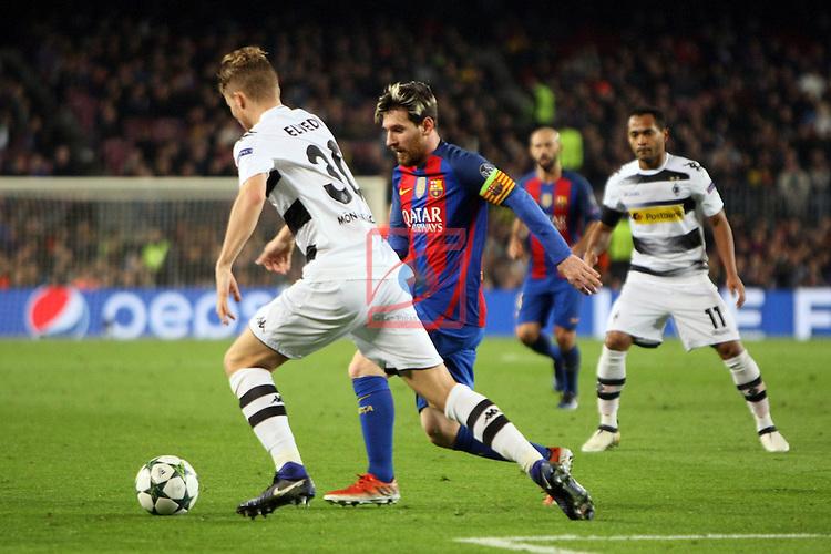 UEFA Champions League 2016/2017 - Matchday 6.<br /> FC Barcelona vs VfL Borussia Monchengladbach: 4-0.<br /> Nico Elvedi vs Lionel Messi.