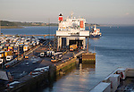 Port activity unloading ferry ship at Harwich International, Essex, England