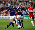 Enda Stevens of Sheffield Utd  and Samir Carruthers of Sheffield Utd during the Championship match at the Riverside Stadium, Middlesbrough. Picture date: August 12th 2017. Picture credit should read: Simon Bellis/Sportimage