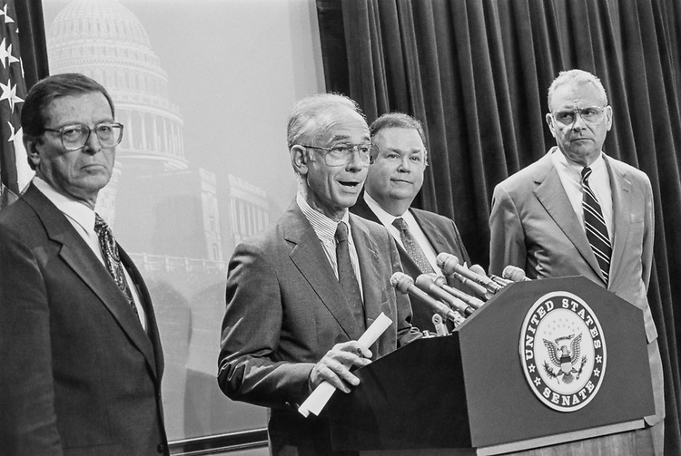 Rep. Bill Gradison, R-Ohio, Sen. Pete Domenici, R-N.M, Sen. David L. Boren, D-Okla, Rep. Lee H. Hamilton, D-Ind. at a press conference on congressional reform to improve efficiency of the legislative branch on July 31, 1991. (Photo by Maureen Keating/CQ Roll Call)