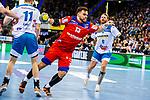 Benjamin Meschke (HBW Balingen-Weilstetten #13) beim Spiel in der Handball Bundesliga, TVB 1898 Stuttgart - HBW Balingen-Weilstetten.<br /> <br /> Foto © PIX-Sportfotos *** Foto ist honorarpflichtig! *** Auf Anfrage in hoeherer Qualitaet/Aufloesung. Belegexemplar erbeten. Veroeffentlichung ausschliesslich fuer journalistisch-publizistische Zwecke. For editorial use only.