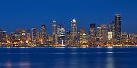 Seattle night skyline from Alki Beach