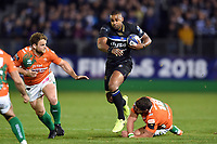 Aled Brew of Bath Rugby takes on the Benetton Rugby defence. European Rugby Champions Cup match, between Bath Rugby and Benetton Rugby on October 14, 2017 at the Recreation Ground in Bath, England. Photo by: Patrick Khachfe / Onside Images