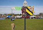 Historical re-enactment event with display of knights jousting, Mid and West Suffolk show, England