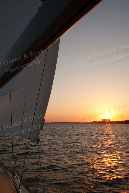 Sailing Sunset charleston south carolina beneteau 49 sailboat yacht cooper river