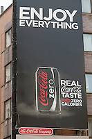 A Coca Cola Zero advertising board is pictured in the New York City borough of Manhattan, NY, Thursday August 4, 2011. The Coca-Cola Company (NYSE: KO) is an American multinational beverage corporation of manufacturer, retailer and marketer of non-alcoholic beverage concentrates and syrups.