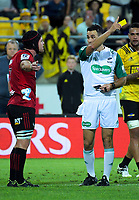 Referee Ben O'Keefe yellow cards Matt Todd during the Super Rugby match between the Hurricanes and Crusaders at Westpac Stadium in Wellington, New Zealand on Friday, 29 March 2019. Photo: Dave Lintott / lintottphoto.co.nz