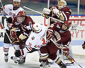 Kyle Kraemer (NU - 16), Patrick Wey (BC - 6), Justin Daniels (NU - 11), John Muse (BC - 1), Joe Whitney (BC - 15) - The Northeastern University Huskies defeated the Boston College Eagles 3-2 on Friday, February 19, 2010, at Matthews Arena in Boston, Massachusetts.