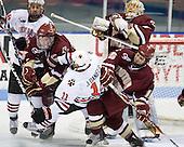 Kyle Kraemer (NU - 16), Patrick Wey (BC - 6), Justin Daniels (NU - 11), John Muse (BC - 1), Joe Whitney (BC - 15) - The Northeastern University Huskies defeated the Boston College Eagles 3-2 on Friday, February 19, 2010, at Matthews Arena in Boston, Massachusetts.