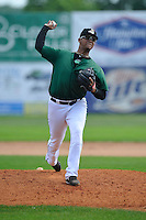 Jose Floes #28 of the Clinton LumberKings pitches against the Kane County Cougars at Ashford University Field on July 6, 2014 in Clinton, Iowa. The LumberKings won 1-0.   (Dennis Hubbard/Four Seam Images)