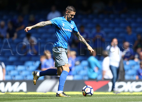 27th August 2017, Stamford Bridge, London, England; EPL Premier League football, Chelsea versus Everton; Muhamed Besic of Everton during pre match warm up