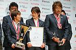 (L to R) Shinobu Ono (Leonessa), Yukari Kinga (Leonessa),  Kei Hoshikawa (Leonessa),  November 13, 2012 - Football / Soccer : Plenus Nadeshiko LEAGUE 2012 Award ceremony in Tokyo, Japan. (Photo by Yusuke Nakanishi/AFLO SPORT).