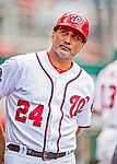 26 September 2018: Washington Nationals first base coach Tim Bogar looks out from the dugout prior to a game against the Miami Marlins at Nationals Park in Washington, DC. The Nationals defeated the visiting Marlins 9-3, closing out Washington's 2018 home season. Mandatory Credit: Ed Wolfstein Photo *** RAW (NEF) Image File Available ***