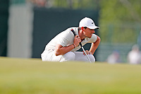 Rory McIlroy (NIR) lines up a putt on the 15th hole during the second round of the 118th U.S. Open Championship at Shinnecock Hills Golf Club in Southampton, NY, USA. 15th June 2018.<br /> Picture: Golffile | Brian Spurlock<br /> <br /> <br /> All photo usage must carry mandatory copyright credit (&copy; Golffile | Brian Spurlock)