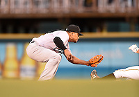 Jupiter Hammerheads second baseman Rafael Furcal (7), on rehab assignment from the Miami Marlins, tags out a base runner during a game against the Bradenton Marauders on April 19, 2014 at McKechnie Field in Bradenton, Florida.  Bradenton defeated Jupiter 4-0.  (Mike Janes/Four Seam Images)