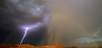 LIGHTNING & RAINBOW- RED CLIFF DESERT RESERVE- SNOW CANYON- ST. GEORGE, UTAH- VERY RARE!! IVINS- SNOW CANYON STATE PARK- RED MTN- RED CLIFFS DESERT RESERVE LIGHTNING