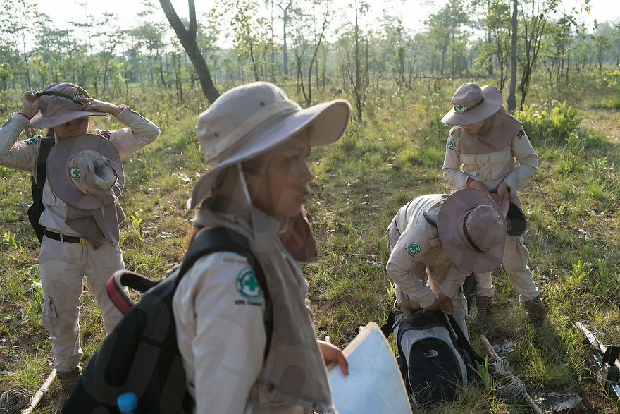 April 26, 2017 - Banlung (Cambodia). The team gets ready for a survey mission in the outskirts of the remote village of Phum Bei. Each day they receive a specific area of forest to survey based on maps with records of the bombing missions provided by the U.S. Air Force. © Thomas Cristofoletti / Ruom