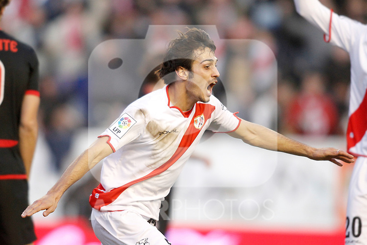 Rayo Vallecano's Alejandro Arribas celebrates during La Liga match. January 28, 2012. (ALTERPHOTOS/Alvaro Hernandez)