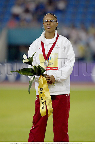 Women's Long Jump Presentation, JADE JOHNSON (ENG), silver, City Of Manchester Stadium, Commonwealth Games 2002, 020729 Photo:Neil Tingle/Action Plus...woman winner .Athlete track and field .athletics podium medals.female.jumper