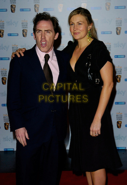 ROB BRYDON & GUEST.Attend The Inaugural BAFTA  Nominees Reception hosted by Burberry, held at the Natural History Museum, .London, England, February 10th 2007..half length mouth open funny.CAP/CAN.©Can Nguyen/Capital Pictures