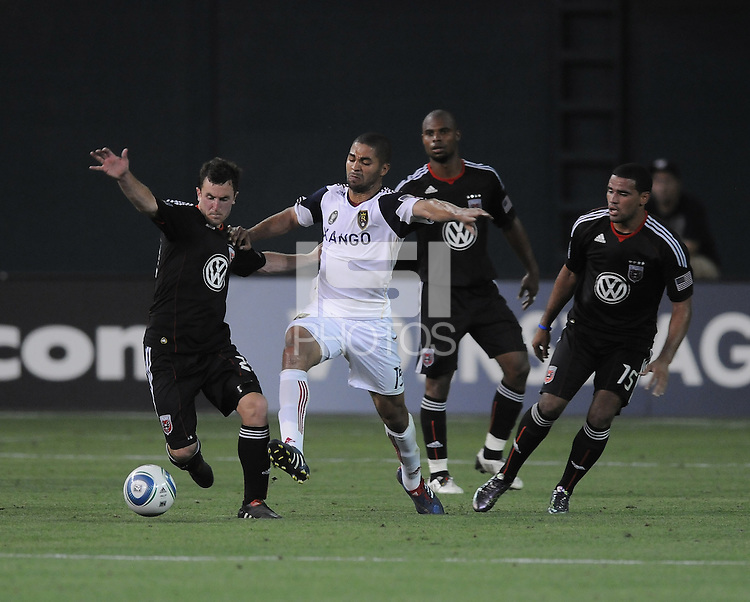 DC United midfielder Stephen King (20) fights for possession of the ball against Real Salt Lake forward Alvaro Saborio (15)  DC United defeated Real Salt Lake 2-1 to advance to the round of 16 of the  U.S. Open Cup at RFK Stadium, Wednesday  June 2  2010.