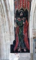 BNPS.co.uk (01202 558833)<br /> Pic: PhilYeomans/BNPS<br /> <br /> St James.<br /> <br /> Doom finally has its day! - A 500 year old 'Day of Judgement' painting, that has survived Henry VIII th, the Puritans and even Victorian prudery has been restored to its former glory.<br /> <br /> Thought to be the largest medieval 'Doom' painting in the country, the striking image been painstakingly restored after a tumultuous 500 year history on the chancel arch of St Thomas Becket church in Salisbury.<br /> <br /> Originally painted in the 15th century, the chancel was white-washed during the Reformation before being uncovered nearly 300 years later in the early 19th century. <br /> <br /> Prudish Victorian's shocked by the naked images then recovered it before it finally re-emerged in 1881 as opinions relaxed. <br /> <br /> Experts have spent three months conserving the faded painting, which included injecting lime slurry behind areas of paint to affix them again to the wall. and delicately 'touching up' in places before finishing it with varnish to bring out its colour.<br /> <br /> Most pre 16th century churches and cathedrals in Britain would have been plastered with religious images and iconography to encourage their often illiterate congregation to good behaviour.<br /> <br /> But during Henry VIII th Protestant Reformation churches were stripped of all graven imagery and the paintings were either whitewashed over or completely destroyed.<br /> <br /> Because of this very few works still survive today making the Salisbury fresco a truly remarkable survivor.<br /> <br /> The restoration is part of a larger set of works at the historic church which are due to cost £1.5million.