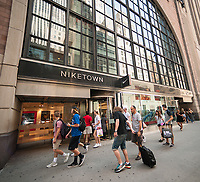 Niketown in Midtown Manhattan in New York on Friday, June 30, 2017. Nike announced that it will sell a limited selection of products through Amazon. (© Richard B. Levine)