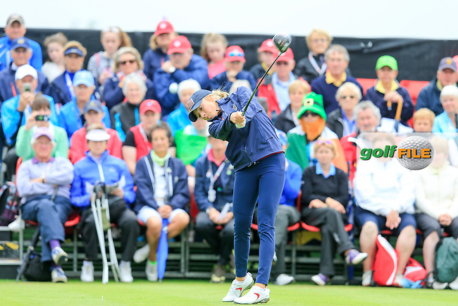Sierra Brooks during Sunday Singles matches at the 2016 Curtis cup from Dun Laoghaire Golf Club, Ballyman Rd, Enniskerry, Co. Wicklow, Ireland. 12/06/2016.<br /> Picture Fran Caffrey / Golffile.ie<br /> <br /> All photo usage must carry mandatory copyright credit (&copy; Golffile | Fran Caffrey)