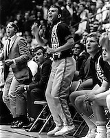 University of California Bears basketball, Russ Critchfield cheering from the bench (1967 photo/Ron Riesterer)