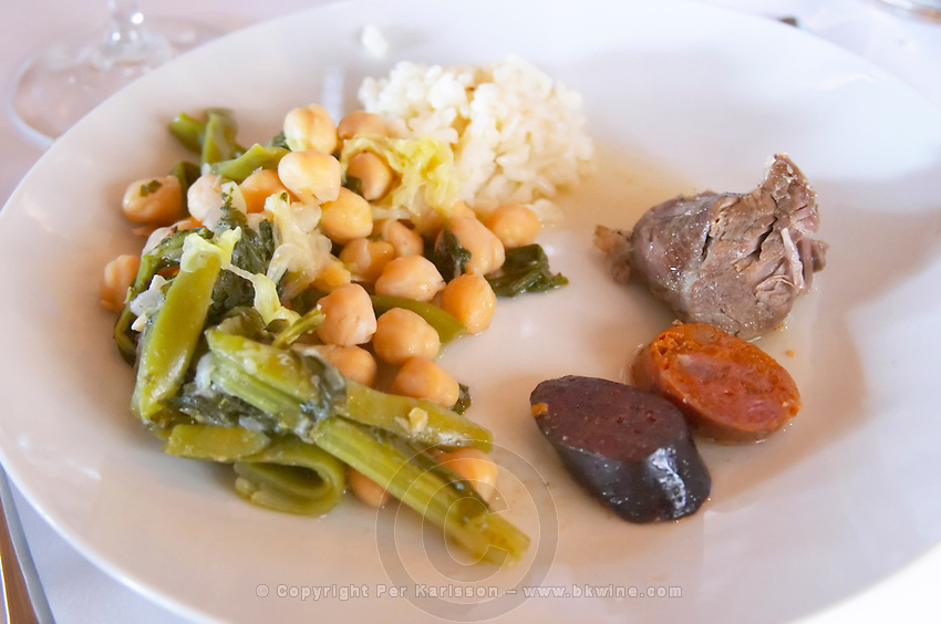 In the restaurant. Traditional beans, vegetable and meat stew. Herdade da Malhadinha Nova, Alentejo, Portugal
