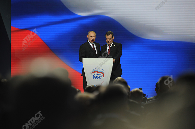 Vladimir Putin, the Russian Prime Minister, spoke with Dmitri Medvedev to delegates at the United Russia Congress in Moscow where his candidature for the upcoming presidential elections in March was approved by the congress. Moscow, Russia, November 27, 2011