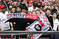 Salford supporters during the Vanarama National League Playoff Final between AFC Fylde & Salford City at Wembley Stadium, London, England on 11 May 2019. Photo by James  Gil.