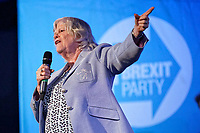 Pictured: Anne Widdecombe addresses supporters. Tuesday 30 April 2019<br /> Re: Nigel Farage and Anne Widdecombe at the Brexit Party rally at The Neon in Clarence Place in Newport, south Wales, UK.