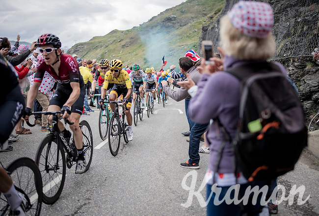 defending Tour champion Geraint Thomas (GBR/Ineos) escorting teammate & yellow jersey / GC leader Egan Bernal (COL/Ineos) who rides comfortable in a select group 2 km from the finish in Val thorens<br /> <br /> shortened stage 20: Albertville to Val Thorens(59km in stead of the original 130km due to landslides/bad weather)<br /> 106th Tour de France 2019 (2.UWT)<br /> <br /> ©kramon