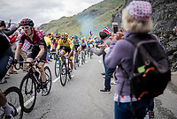 defending Tour champion Geraint Thomas (GBR/Ineos) escorting teammate & yellow jersey / GC leader Egan Bernal (COL/Ineos) who rides comfortable in a select group 2 km from the finish in Val thorens<br /> <br /> shortened stage 20: Albertville to Val Thorens (59km in stead of the original 130km due to landslides/bad weather)<br /> 106th Tour de France 2019 (2.UWT)<br /> <br /> ©kramon