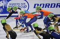 SCHAATSEN: DORDRECHT: Sportboulevard, Korean Air ISU World Cup Finale, 11-02-2012, Relay Ladies, Ha-Ri Cho KOR (137), Arianna Valcepina ITA (128), Sanne van Kerkhof NED (146), Jorien ter Mors NED (144), Biba Sakurai JPN (134), ©foto: Martin de Jong