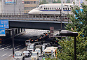 November 14, 2016, Tokyo, Japan - A bullet train pass over a road in Tokyo on Monday, November 14, 2016. Japan's gross domestic product (GDP) expanded for the third straight quarter in July to september, driven by a rise in exports, cabinet office reported.   (Photo by Yoshio Tsunoda/AFLO) LWX -ytd