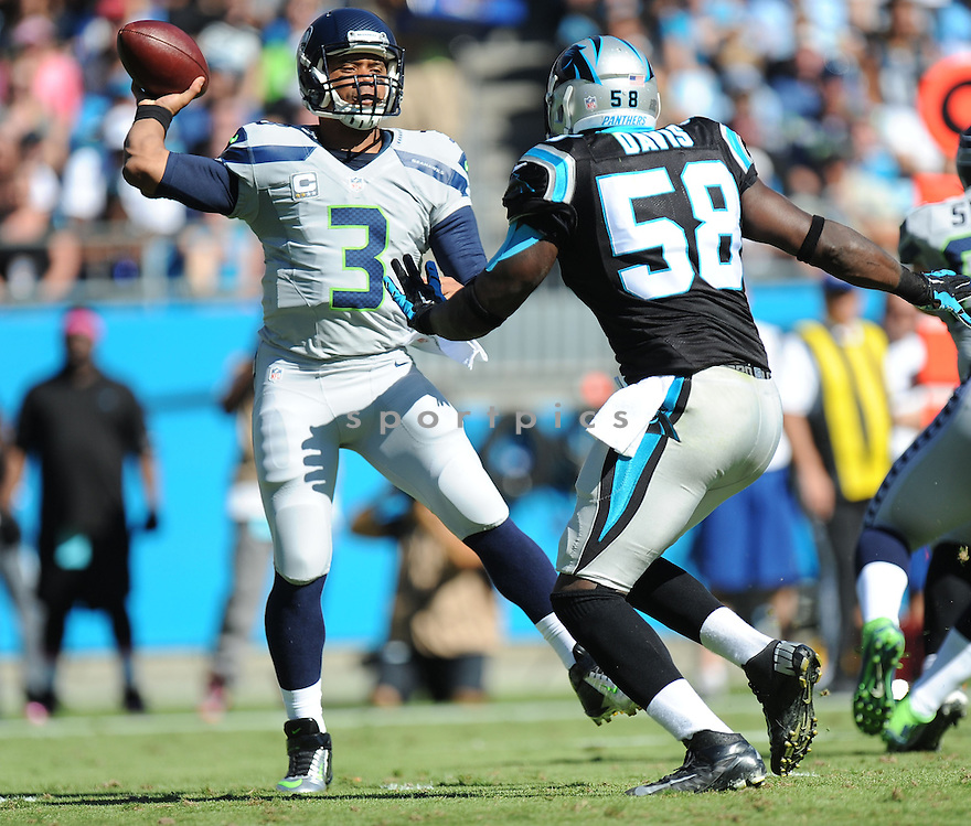 Seattle Seahawks Russell Wilson (3) during a game against the Carolina Panthers on October 26, 2014 at Bank of America Stadium in Charlotte, NC. The Seahawks beat the Panthers 13-9.
