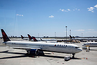 NEW YORK, NY - MAY 12: View some Delta Air Lines planes parked at Terminal 1 of John F. Kennedy International Airport on May 12, 2020 in New York, NY. (Photo by Pablo Monsalve / VIEWpress via Getty Images)