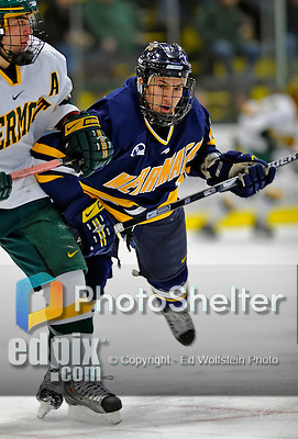 16 February 2008: Merrimack College Warriors' forward Mike Vaskivuo, a Sophomore from Helsinki, Finland, in action against the University of Vermont Catamounts at Gutterson Fieldhouse in Burlington, Vermont. The Catamounts defeated the Warriors 2-1 for their second win of the 2-game weekend series...Mandatory Photo Credit: Ed Wolfstein Photo