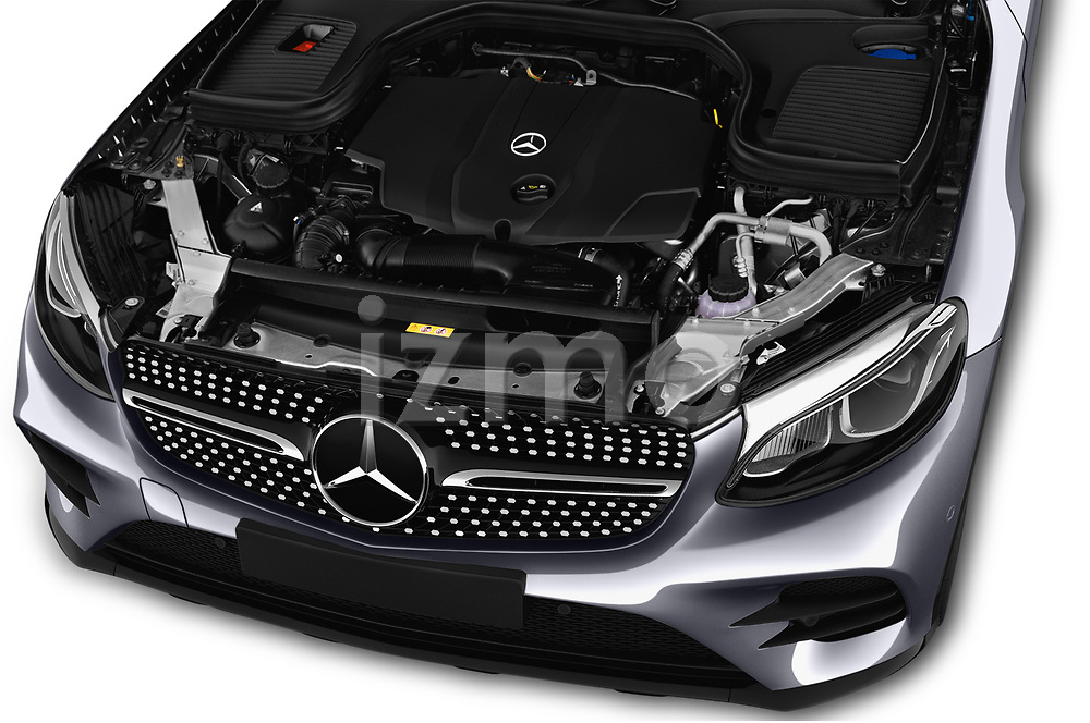 Car Stock 2017 Mercedes Benz GLC-Coupe 220-D 5 Door SUV Engine  high angle detail view