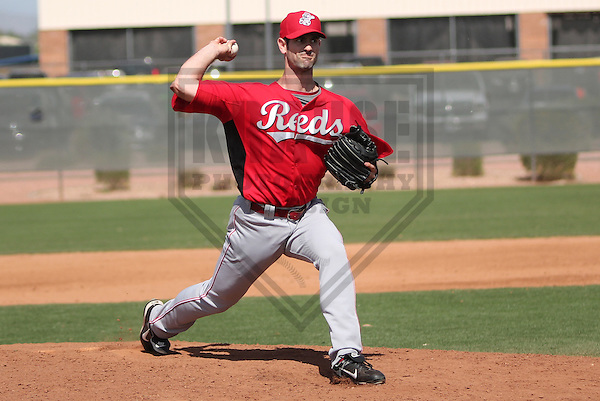 PEORIA - March 2013: Mark Prior  of the Cincinnati Reds during a Spring Training game against the Seattle Mariners on March 23, 2013 at Peoria Sports Complex in Peoria, Arizona.  (Photo by Brad Krause). .