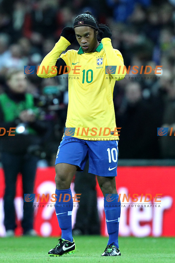 Londra 6-02-2013 Wembley Stadium.Calcio amichevole internazionale Inghilterra vs Brasile.Friendly Match England Vs Brazil .Ronaldinho.Photo Matteo Ciambelli / Insidefoto