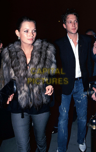 KATE MOSS & JEFFERSON HACK..Ref: 11493..fur coat, british supermodel, pregnant..www.capitalpictures.com..sales@capitalpictures.com..©Capital Pictures..half length, half-length