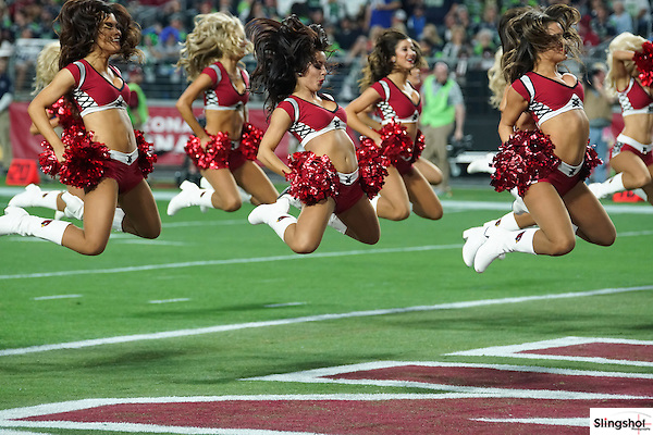 Arizona Cardinals cheerleaders perform during a game against the Seattle Seahawks, Jan 1, 2016 in Glendale, Ariz. (Gene Lower via AP)