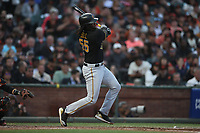 SAN FRANCISCO, CA - AUGUST 11:  Josh Bell #55 of the Pittsburgh Pirates hits a home run against the San Francisco Giants during the game at AT&T Park on Saturday, August 11, 2018 in San Francisco, California. (Photo by Brad Mangin)