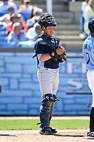 Myrtle Beach Pelicans catcher Jorge Alfaro (24) during a game against the Wilmington Blue Rocks on April 27, 2014 at Frawley Stadium in Wilmington, Delaware.  Myrtle Beach defeated Wilmington 5-2.  (Mike Janes/Four Seam Images)