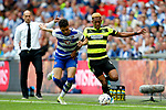 Rajiv van La Parra of Huddersfield Town takes on Tiago Ilori of Reading during the SkyBet Championship Play Off Final match at the Wembley Stadium, England. Picture date: May 29th, 2017.Picture credit should read: Matt McNulty/Sportimage